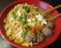 Egg Tomato Meatball Noodle Soup