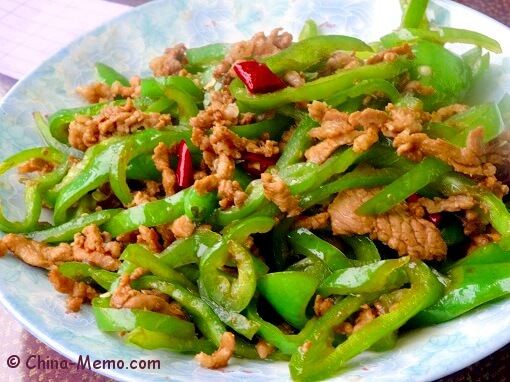 Chinese Pork Fried Green Chilli
