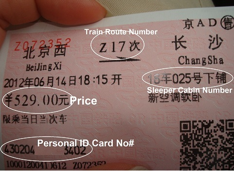 China Sleeper Train Ticket.