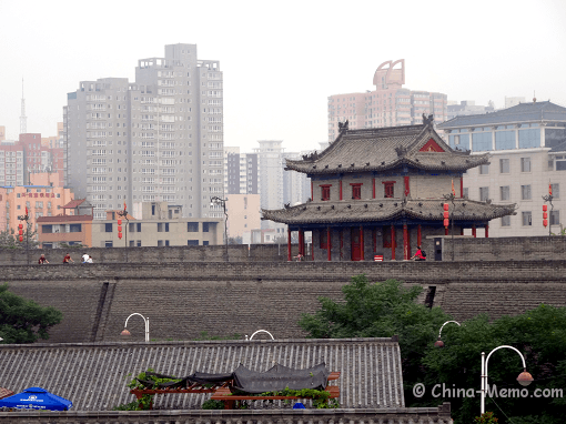 China Xian City Wall & Buildings
