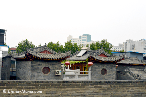 China Xian City Wall Nearby Building Top