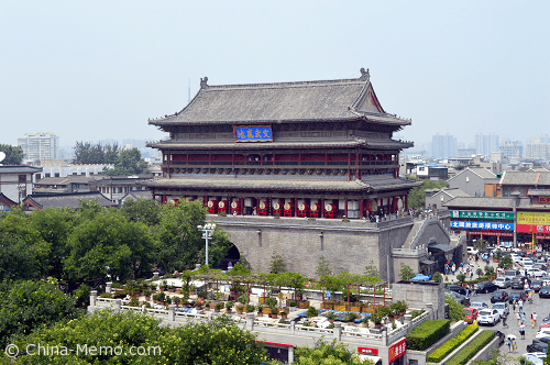 China Xi'an Drum Tower (View from Melody Hotel)