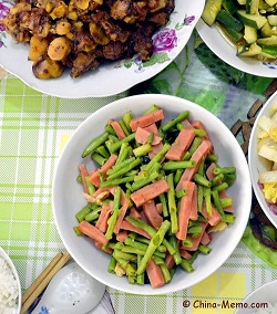 Chinese Beans Fried with Sausages