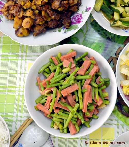 Chinese Green Beans Fried Hotdog Sausages