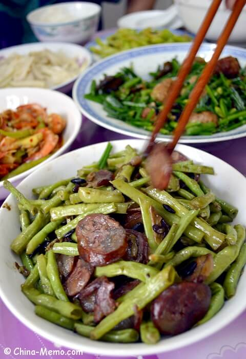 Chinese Green Beans Fried Sausages