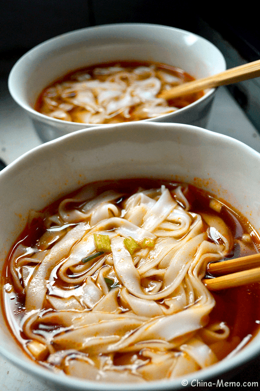 Chinese homemade rice noodle soup