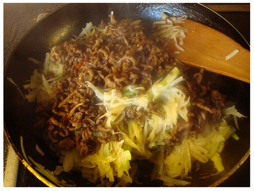 Chinese Cooking Potato Minced Meat.