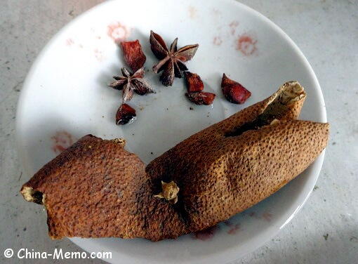 Chinese Star Anises and Dried Orange Skin.