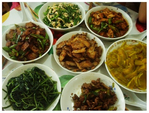 Chinese Daily Dishes on Table