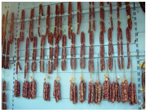Chinese Food Hunan Cured Sausages.