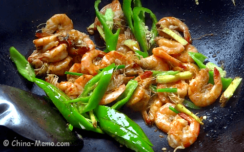 Chinese Jinga Shrimp with Green Chilli