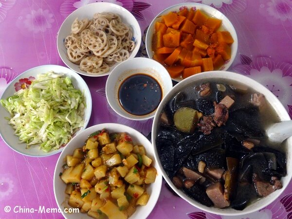 Chinese Family Lunch with Rice Tofu Dish
