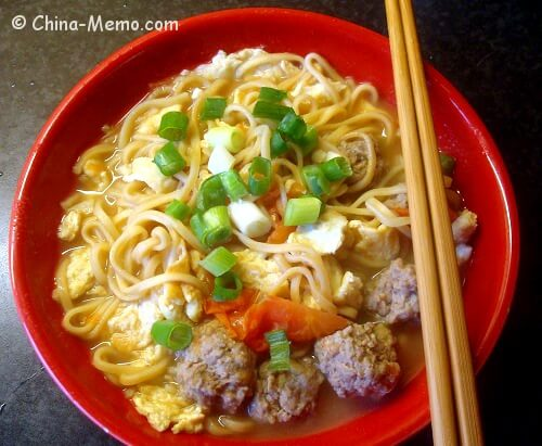 Chinese Egg Tomato Meatball Noodle Soup