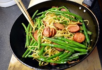 Chinese Noodle with Green Beans & Sausages
