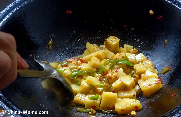 Chinese Rice Tofu Cooked in Wok