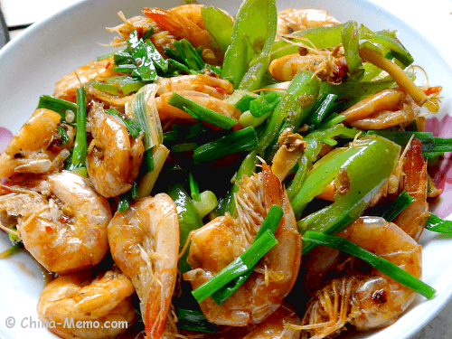 Chinese Spicy Jinga Shrimp with Green Chillies