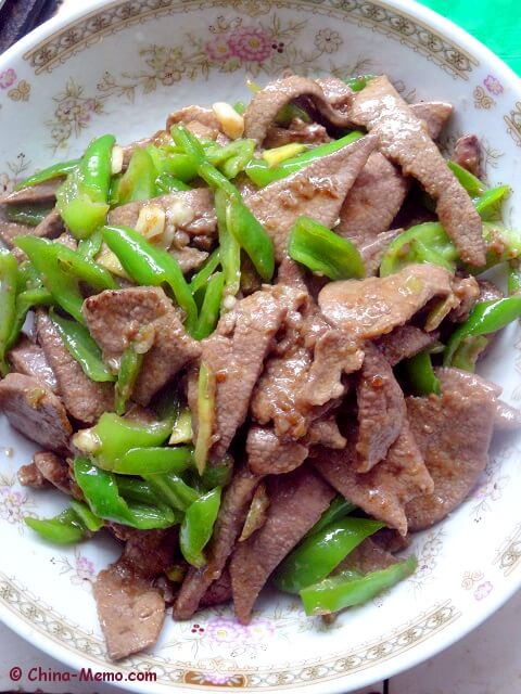 Chinese Pork Liver Fried Green Chilli.