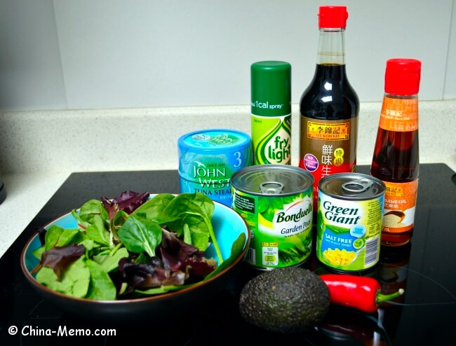Ingredients for Chinese Spicy Tuna Veggie