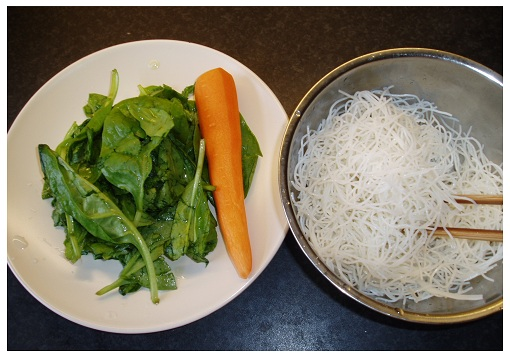 Chinese Spinach Rice Noodle Ingredients.