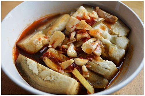 Chinese Steamed Eggplant with Chilli and Garlic.