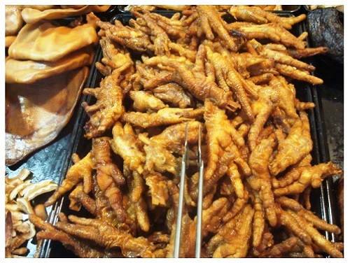 China Local Food Market: Chicken Feet.