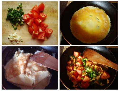 Cooking Method for Chinese Food Egg Fried Tomatoes.