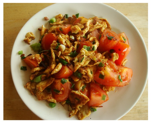 Chinese Food Recipe Egg Fried Tomatoes.