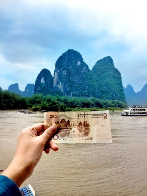 China Guangxi Guilin Li River on Money