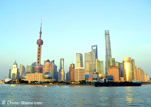 Shanghai Pudong Area view via the Bund.