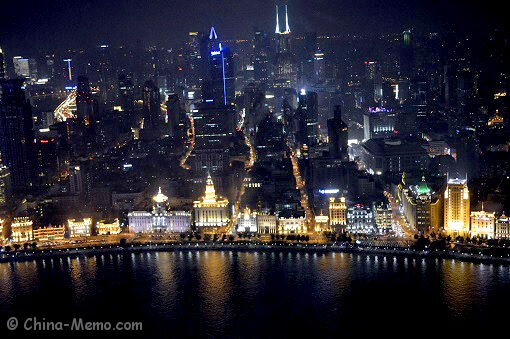 Shanghai Bund view from Shanghai TV Tower.