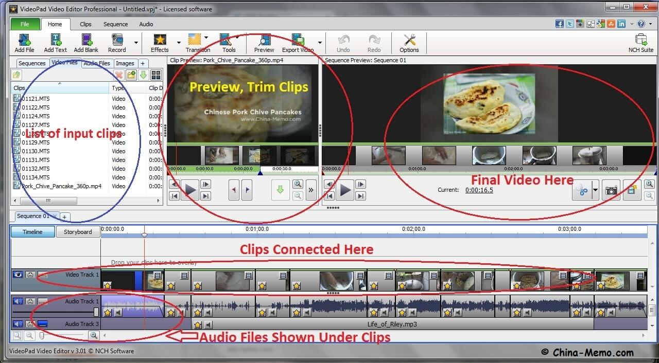 VideoPad Video Editor Interface