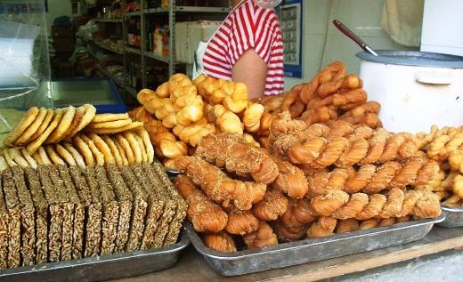Mahua, the deep fried, twisted dough strands.