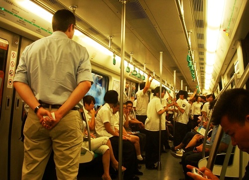 Inside Beijing Subway Train.