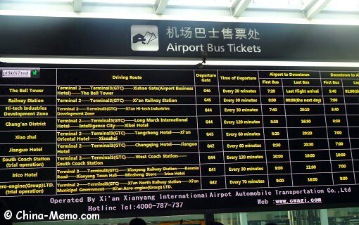 China Xian Airport Bus Ticket Board.