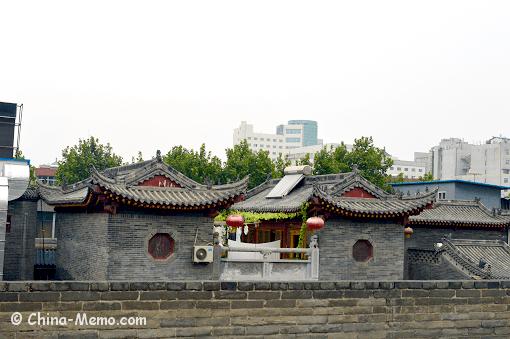 China Xian City Wall Nearby Building Top