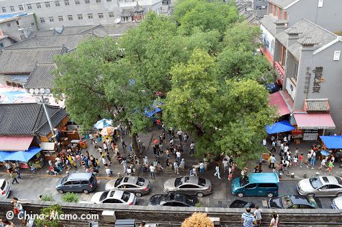 View of Xian Muslim Food Street from Drum Tower.