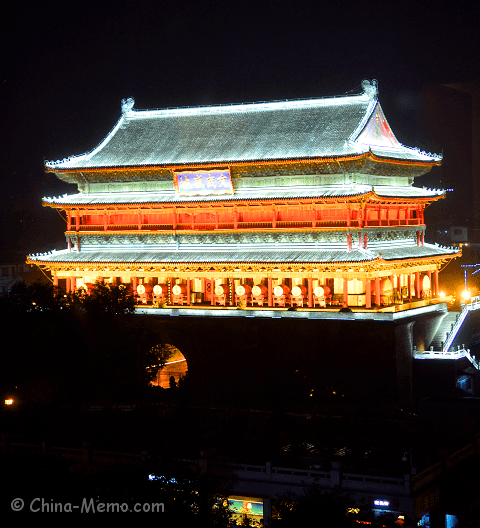 China Xian Drum Tower Night View.