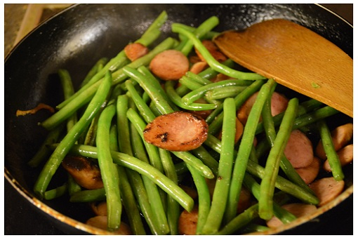 Chinese Cooking Green Beans & Smoked Sausages.