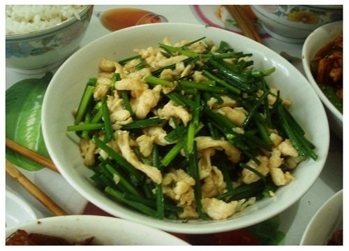 Chinese Daily Meal Pork Fried Chive.
