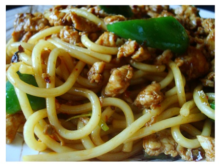Chinese Food Sichuan Style Chicken Noodle.