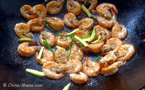 Chinese Jinga Shrimp Fry with Ginger
