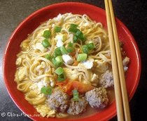 Chinese Egg Meatball Noodle Soup
