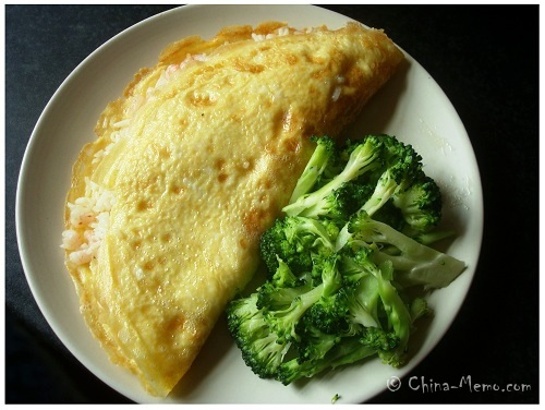 Chinese Omelette of Prawn Rice & Vegetable.
