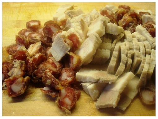 Chinese Preserved Sausage and Pork Bellies Cut.