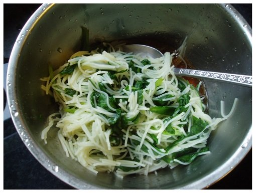 Chinese Spinach and Rice Noodle Mixed with Sauces.
