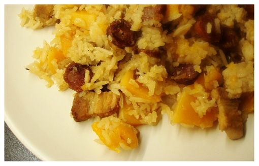 Chinese Squash Meat Risotto Closeup.