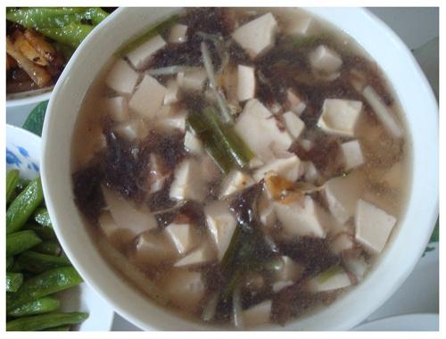Chinese Tofu Seaweed Soup.
