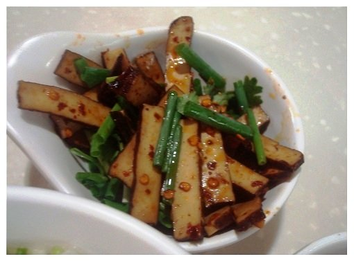 Chinse seasoned tofu with chilli and spring onions.