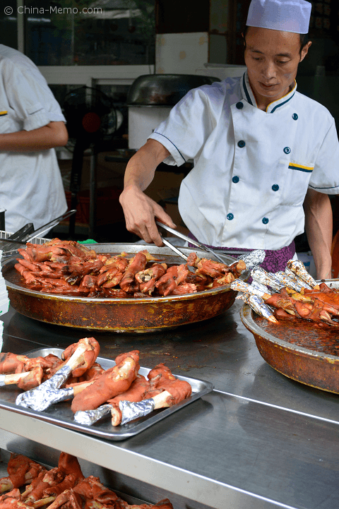 Xian Muslim street food stall selling the goat hoof.