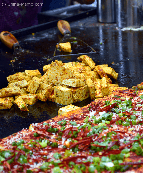 Xian Muslim Street Food, Iron Plate Fried Tofu.